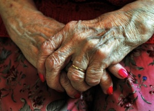 The hands of an elderly resident at a nursing home (John Stillwell/PA Wire)