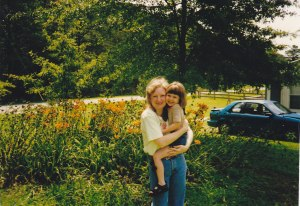 With my niece in my favorite jeans, 1987